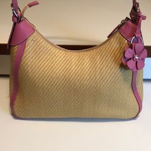 Fossil Straw Hand Bag with pink detail